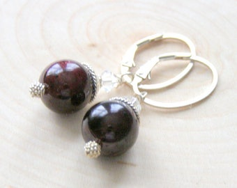 Red Garnet Earrings, Round Gemstone Earrings, Sterling Silver, Oval Lever Back, January Birthstone, Gift for Her, One of a Kind Jewelry
