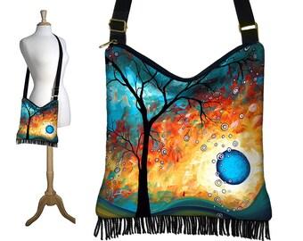 MadArt  Hippie Crossbody Bag, Fringe Hobo Purse, Cross Body Shoulder Bag, Boho Sling Bag, Aqua Burn, blue orange black RTS
