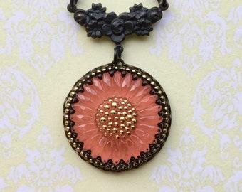 Flower Necklace - Daisy Necklace - Orange Necklace - Flower Jewelry - Czech Glass - Glass Necklace - Daisy Jewelry - Romantic Jewelry