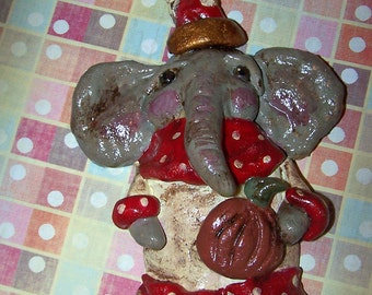 Folk Art Whimsical Party Elephant Cookie Clay Ornament Christmas Decoration