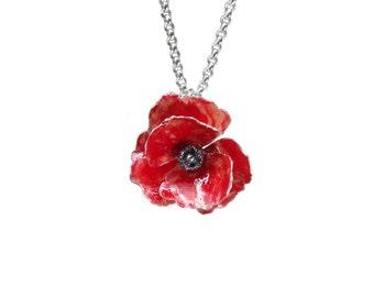 Poppy necklace. Silver flower necklace. Red poppy necklace. Poppy jewelry.