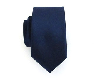 Mens Tie. Dark Navy Blue Skinny Silk Necktie with *FREE* Matching Pocket Square Set