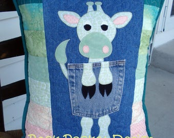Green Spotted Lanky Giraffe Quilted Denim Pocket Pillow on Recycled Denim