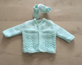 All vest and 3 months hand knitted booties