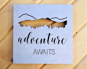 Adventure Awaits Wood Canvas, Wall Art, Wanderlust Wood Home Decor, Travel, Outdoors, Mountain Sign, Trees, Life Saying, Inspirational Quote