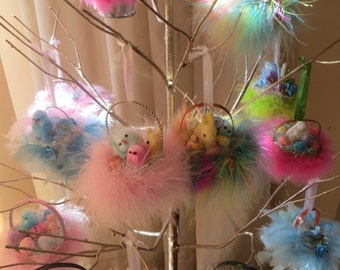 1 Easter ornament,gift women,easter decor,chick,eggs,feather tree ornament,shabby cottage,tree + display only