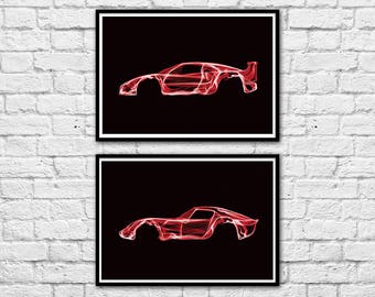 2 Art-Posters 30 x 40 cm - Limited Edition 50 ex. - Duo Ferrari F40 and 250 GTO
