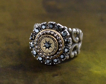 Hematite Halo Estate Ring, Victorian Ring, Estate Ring, Medallion Jewelry, Vintage Ring, Silver Ring, French Ring, French Jewelry R561