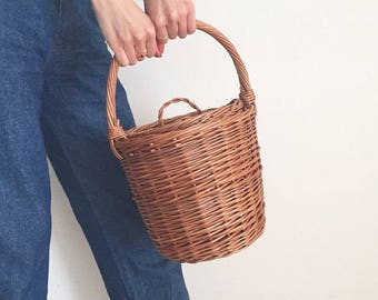 Jane Birkin Style Basket, Birkin Basket M, Round Wicker Basket with Lid, Medium Round Willow Basket, Round Basket, Basket Purse,Basket Bag
