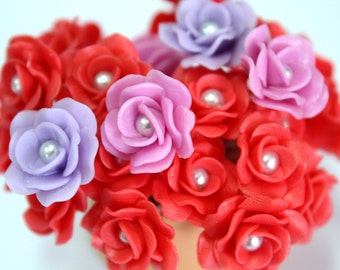 Miniature Roses Polymer Clay Flowers Supplies for Beaded Jewelry 12 pcs. in shade of Red-Lavender-Orchid, 3 tones
