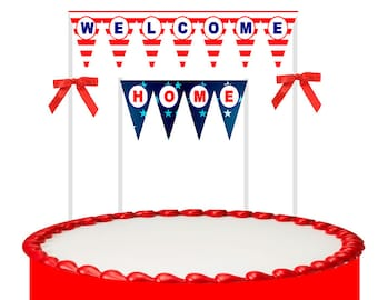 Welcom Home Cake Decoration Bunting Banner with Bow