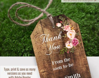 Pritnable Thank You tags, rustic gift tags, Wedding templates, Instant Download, Self Editable PDF file T104