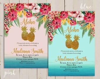 Aloha Baby Shower Invite Invitation Luau Hawaiian, Pink Aloha Baby Tropical Hawaiian  Luau Baby Shower Invitation, Pineapple Party Printable