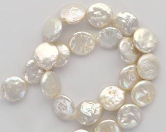 10 Circle Disc COIN Cultured Freshwater PEARLS  12mm, Off White gpe0031a
