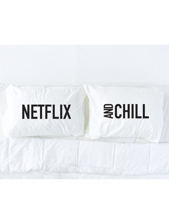 Netflix and Chill Pillowcase Set in Black, Dorm Bedding, His and Hers Pillows, Boyfriend Pillowcases, Couples Gift, Pillow Talk