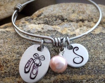 Ballet Recital Gift Ideas - Ballet  Jewelry -Personalized Bangles for Little Girls - Children's Bracelet - Dance Jewelry - Personalized