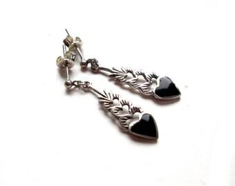 Earrings Silver Onyx earrings, ear plugs sterling silver, Dangle earrings, onyx, vintage Jewelry