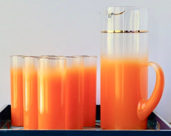 Blendo Orange Glass Pitcher Set West Virginia Glass 7 piece Set/Pitcher and 6 Glasses Gold Rim Mid Century