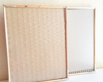 Pair of Matching Vintage Gold Brass Metal Shadow Picture Frames Table Top