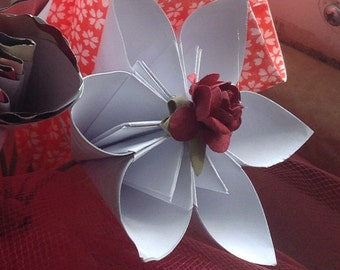 Kusudama Flower Cupcake Toppers or Wedding Decorations 5 With Wooden Stems