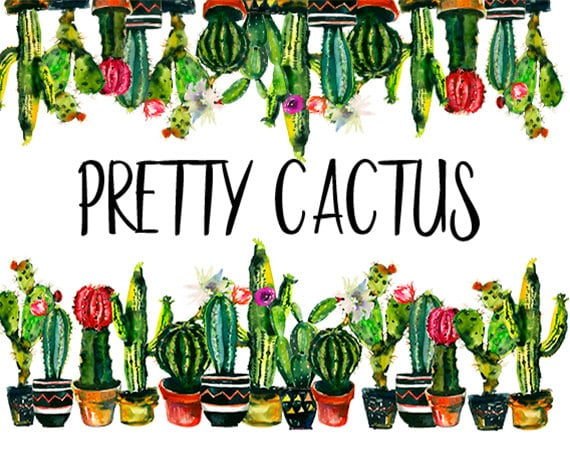 Cactuc Watercolor Clip Art Border Photo Frame Succulents