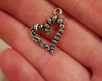 Silver Tone  Heart  Braided Twisted Pattern Charms Findings 6 PC
