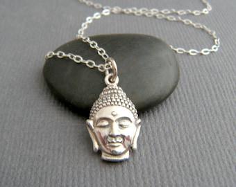 tiny silver Buddha head necklace small sterling silver zen charm yoga jewelry gift Buddhism faith Budha Buddhist religion everyday pendant