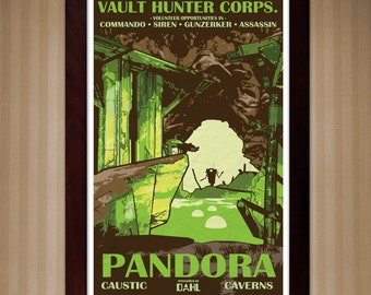 Borderlands 2 - Pandora - Caustic Caverns - Vintage National Park Style Posters - 11x17