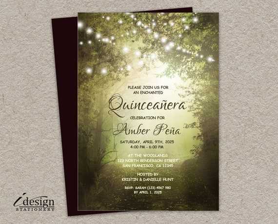 Enchanted Forest Themed Wedding Invitations: Quinceanera Invitation Printable Enchanted Forest