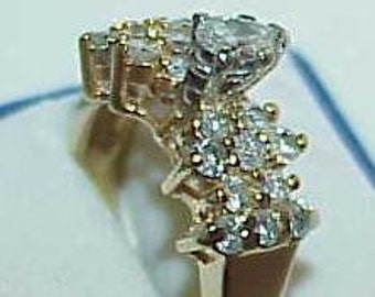14K 1.00CT Pear Diamond Solitaire Engagement Ring Yellow Gold Size 6