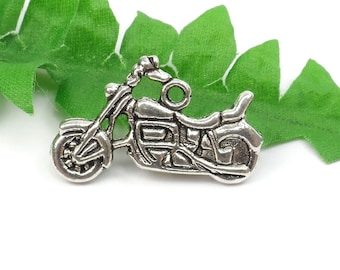 5 Silver Motorcycle Charm, Transportation, 25mm x 14mm C65
