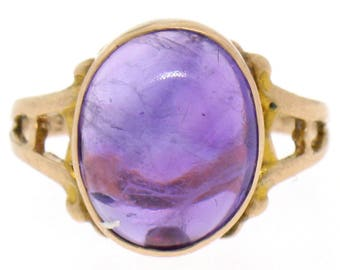 Antique Art Nouveau Solid 10k Rose Gold Oval Cabochon Amethyst Solitaire Ring