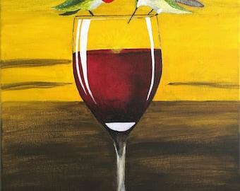 Wine, Hummingbirds at Sunset Print of my Original Painting