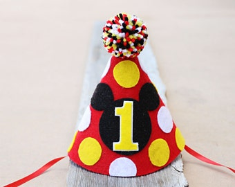 Mickey 1st Birthday Hat - Boys First Birthday Mouse Party Hat - 2nd Birthday Mickey
