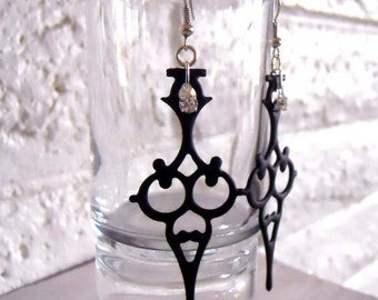 Steampunk Earrings Clockhand Goth Noir Victorian perfect for the Gothic bride - Time Waits For No Woman
