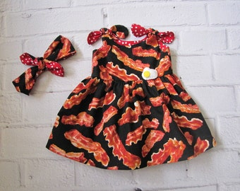 Baby Bacon Dress ~ Made To Order Bacon Dress and Headband ~ Girls Bacon Dress ~ Bacon Sun Dress ~ Bacon and Egg Baby ~ Girls Bacon Dress