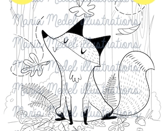 DREAMY FOX- digital stamp for scrapbooking and cardmaking+ coloring page