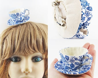 MADE-TO-ORDER ( 1 - 2 Weeks)- Miniature Teacup Hair Slide-Liberty Blue Flower Leaves