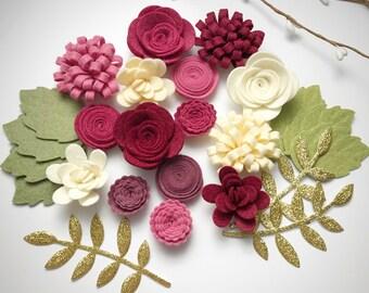 Cherry Cobbler Felt Flower Set