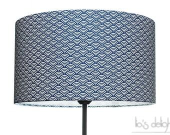 """Abat-jour géométrique japonisant """"Vagues"""" bleu royal, japonaise, abatjour, abat jour"""