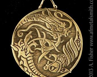 Bronze Triple Dragons- a Pendant with Celtic influences