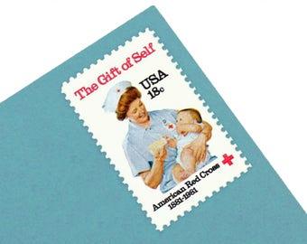 Pack of 25 Unused American Red Cross Stamps - 18c - Vintage 1981 - Unused Postage - Quantity of 25 -Clara Barton