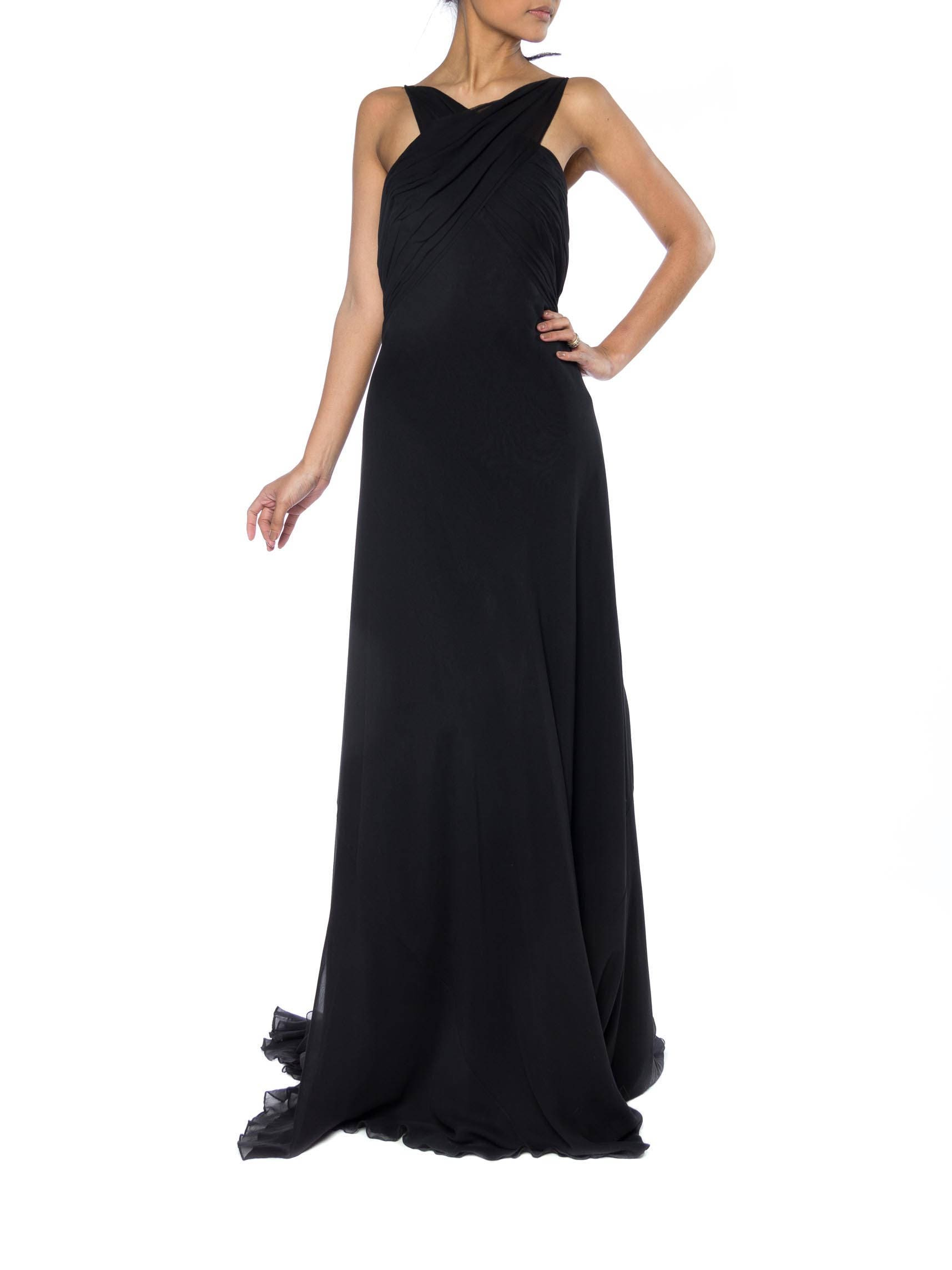 Backless Bias Cut Chiffon Gown With Train Size: 4-6