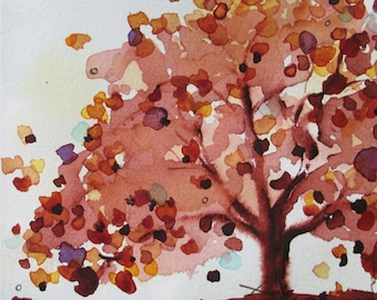 Large Tree Art,  12 x 12 Autumn Tree Print,  Archival Botanical Art, Woodland Art