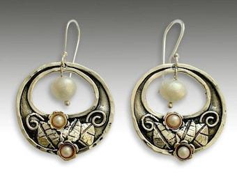 Gold silver earrings, floral earrings, botanical, botanical earrings, sterling silver earrings, pearl earrings - Hanging gardens - E2155G