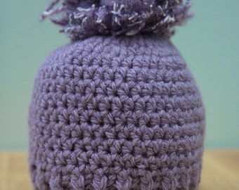 Purple Crochet Hat with PomPom