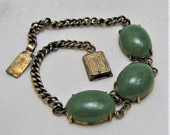 Vintage Jade Link Bracelet with Three Cabs in Chain. Measures 7 1/2 Inches Long and Closes with a Push-in Clasp. Probably 1930's-40's. (D25)