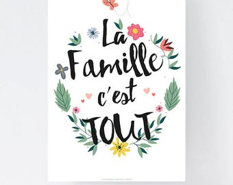 Poster Printed - Text - The Family is ALL - Format A3