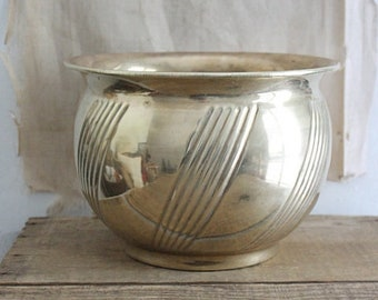 Vintage Textured Brass Planter