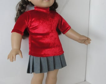 Red 18 inch doll top and gray pleated skirt.  Top is valuor and skirt is soft wool.